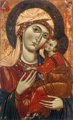 Maestro anonimo (1260 attivo a Pisa) - Vergine e il Bambino - 1260 - tempera su tavola - Pinacoteca Nazionale, Siena
