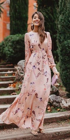The 15 Most Stylish Wedding Guest Dresses For Spring ❤ wedding guest dresses f., 15 Most Stylish Wedding Guest Dresses For Spring ❤ wedding guest dresses for spring a line long with sleeves floral print invitada perfecta ❤ Formal Wedding Guests, Best Wedding Guest Dresses, Wedding Guest Fashion, Wedding Guest Outfit Formal, Trendy Wedding, Wedding Guest Style, Dresses To Wear To A Wedding, Wedding Ideas, Wedding Looks For Guests