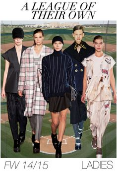 The typical Madonna's and Rosie O'Donnell's baseball hats stay, but bats and gloves are gone and in their place appeared solid platform heels and long silhouetted proportions, nipped in at the waist but mostly extended to mid-thigh.