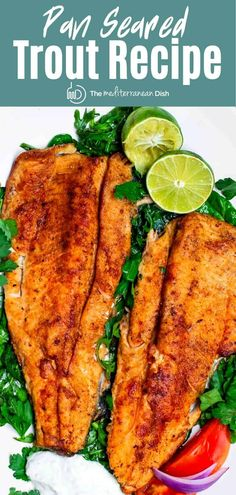 For the ultimate fish fry, try this easy, flavor-packed trout recipe! Trout fillet coated in a Mediterranean spice mixture and quickly seared in olive oil. Ready in just over 15 minutes. Pan Seared Trout Recipe, Trout Fillet Recipes, Pan Fried Trout, Recipes For Trout, Fried Fish Fillet Recipe, Shellfish Recipes, Seafood Recipes, Cooking Recipes, Dinner Recipes