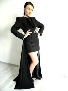 Black Rebecca Coat with removable skirt by LauraGalic @ Etsy $230 Gorgeous