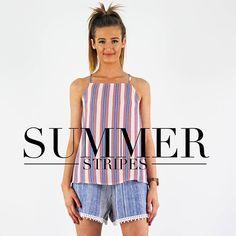 Get summer ready @pinkcadillac www.pinkcadillac.co.uk Cute Crop Tops, Tank Tops, Pink Cadillac, Summer Stripes, Bandeau Top, Off The Shoulder, Crochet Top, Tees, Shirts