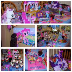 My Little Pony Birthday Party! Tattoos as cutie marks, cotton candy as clouds for her cake and a Rainbow Dash snack table.
