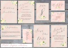 Printable pretty blush floral watercolour wedding invitation, save the date, rsvp, table number, place card, info card stationery set.