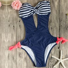 Color Block Striped Print Cut-out Front One Piece Swimsuit.Check more from www.oasap.com .