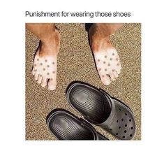 humor about people who wear crocs in summer - tan line funny