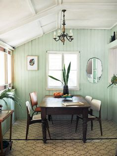 organic Brisbane dining room - I love the mint wall