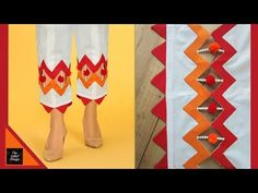 Trendy Capri Design | Cutting and Stitching | Sleeves design | Daman Design - YouTube Chudi Neck Designs, Salwar Neck Designs, Kurta Neck Design, Neck Designs For Suits, Kurta Designs Women, Dress Neck Designs, Sleeve Designs, Border Embroidery Designs, Embroidery Flowers Pattern