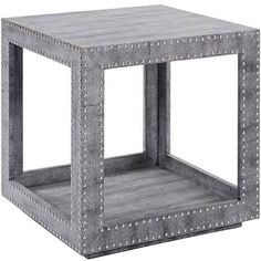 Regina Andrew Shagreen Python Studded Accent Cube Table ($1,373) ❤ liked on Polyvore featuring home, furniture, tables, accent tables, decor, home decor, shagreen table, gray furniture, metallic furniture and studded furniture