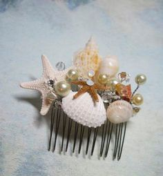 Natural Seashell and Starfish Hair Comb Headpiece with Pearls Crystals for Beach Weddings on Etsy, $58.00