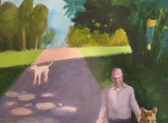 Paul Wonner In a Park With Ceberus & Luna