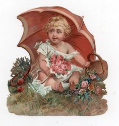 Oblaten Glanzbild scrap die cut chromo Baby Regenschirm Bébé parapluie umbrella