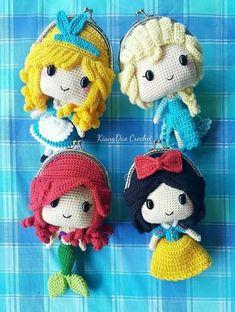 Crochet Purses Ideas Princess coin purses - so cute Coin Purse Pattern, Crochet Coin Purse, Crochet Purse Patterns, Crochet Mandala Pattern, Crochet Purses, Crochet Patterns Amigurumi, Crochet Dolls, Crochet Princess, Crochet Disney