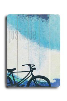 "Wood bicycle wall art ""Just ride"""