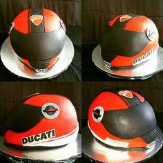 Ducati Motorcycle Helmet Cake