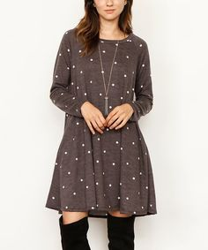 Another great find on #zulily! Charcoal & White Dot Pocket Shift Dress #zulilyfinds