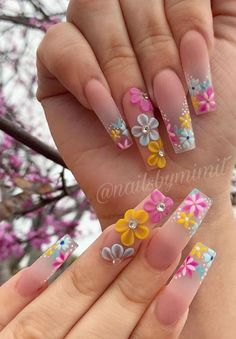 Theyre amazing.Thanks to the designers.We collected 70 trendy coffin nail art design ideas for youif you are looking for nail idea in this Spring. Nail Art Designs, Acrylic Nail Designs, Nails Design, Summer Acrylic Nails, Best Acrylic Nails, Nail Swag, Stylish Nails, Trendy Nails, 3d Flower Nails