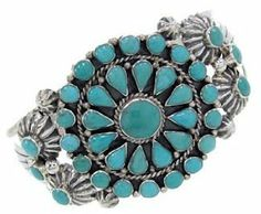 Turquoise Jewelry Genuine Sterling Silver Cuff Bracelet BW70176 SilverTribe. $197.99
