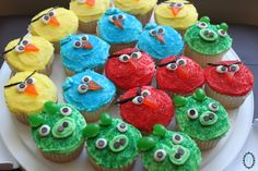 With some various candies, coloured icing and cupcakes - these Angry Bird Cupcakes turned out pretty awesome!