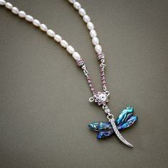 Mother of Pearl Dragonfly Necklace with Freshwater White Pearl Chain Dragonfly Necklace, Beaded Necklace, Asian Store, Wood Floor Lamp, Hanging Paintings, Floor Lamp Shades, Mother Of Pearl Necklace, Pearl Chain, Compact Mirror