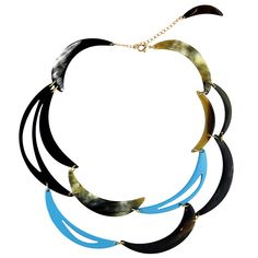 Handcrafted in Vietnam Upcycled horn, nickel-free brass 16-18 in Avoid exposure to water and high humidity levels Items are hand-dyed and may have slight color variations