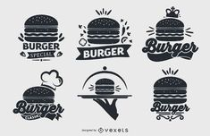 Have a new burger joint or just crazy for hamburgers? Check out these logo designs perfect for any foodie project! Web Design, Food Design, Burger Icon, Real Burger, Burger Specials, Interactive Projection, Drinks Logo, Logo Restaurant, Logo Food