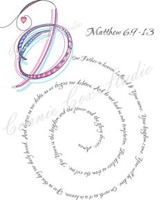 Instant Digital Download, Love Lines, Letter O, for Our Father... Matthew 6 9-13, Abstract, Doodle, Drawing, Calligraphy, Print, Royal Purple, Blue, Magenta