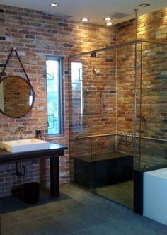 Classic Bathroom Atmosphere with Brick Wall : Simple Bathroom With Brick Wall And Slide Glass Door