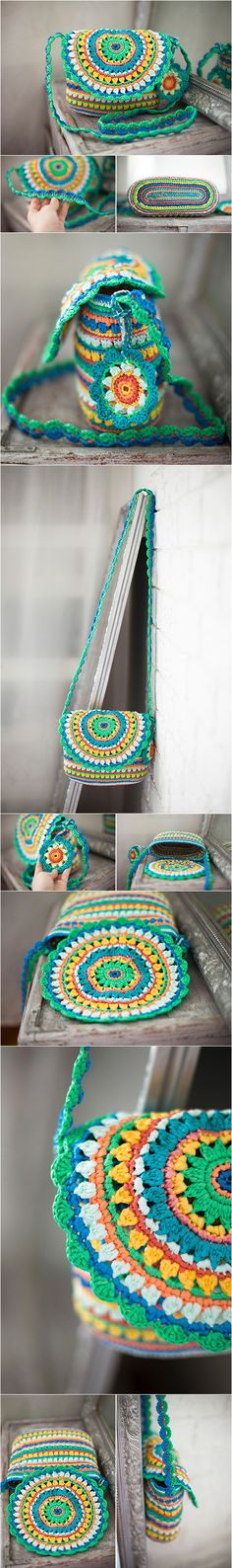 Mandala Bag, Rainbow Purse, Plarn Colorful Satchle, Ecofriendly Green Yellow Handbag, Gypsy Style Bag, Boho Crochet Tote, Summer Cross Body Bag, #frombabushkabag, upcycling, recycling, upcycled bag