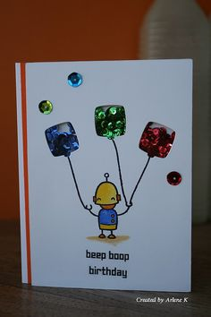 Lawn Fawn - Beep Boop Birthday + coordinating dies _ super clever birthday shaker card by Arlene via Flickr - Photo Sharing!
