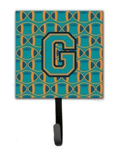 Letter G Football Aqua, Orange and Marine Blue Leash or Key Holder CJ1063-GSH4