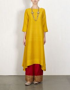 Yellow Kurta With Embroidered Pants-Lajjoo: