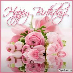 Happy Birthday Pink Reflecting Bouquet Glitter Graphic, Greeting, Comment, Meme or GIF Happy Birthday Wishes For Her, Happy Birthday Rose, Birthday Wishes Flowers, Happy Birthday Cake Images, Happy Birthday Celebration, Birthday Wishes And Images, Happy Belated Birthday, Birthday Blessings, Birthday Wishes Cards