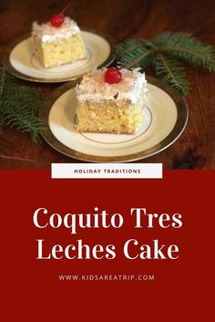 Kids Meals This holiday recipe brings together two amazing Puerto Rican favorites, coquito and tres leches cake! Fabulous for your next family gathering! - Kids Are A Trip - A mix of two Puerto Rican favorites results in one fabulous holiday dessert. Boricua Recipes, Mexican Food Recipes, Sweet Recipes, Cake Recipes, Dessert Recipes, Dessert Bread, Dessert Table, Yummy Recipes, Comida Latina
