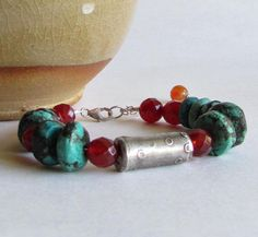 Turquoise and Carnelian Bracelet - Precious Metal Clay - Turquoise Jewelry on Etsy, $125.00