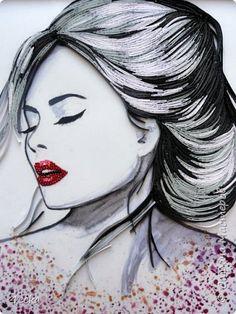 Картина панно рисунок Квиллинг Красотка Бумажные полосы фото 3