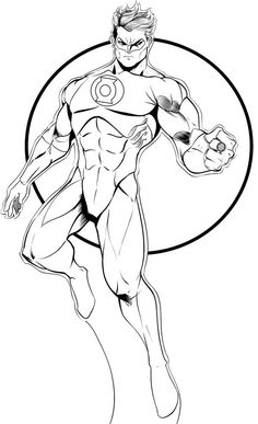 Green Lantern, : Green Lantern Flying in the Sky Coloring Page