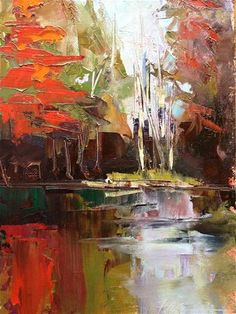 """Autumn Reflections, 8x10"" - Original Fine Art for Sale - © Ann Feldman"