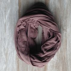 Chocolate Brown Infinity Scarf with Scalloped Trim by TheBlueDodo