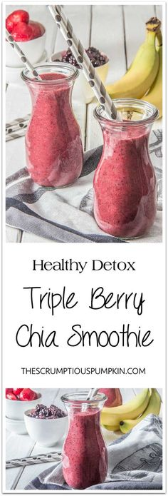 Detox Smoothie – Triple Berry Chia | This brightly colored smoothie is refreshing and thick enough to eat with a spoon (filled with fiber & antioxidants too)! | The Scrumptious Pumpkin