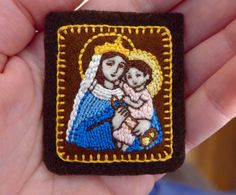 RESERVED Hand Embroidered Brown Scapular: Our by StellaMarigoldArt