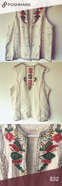 Vintage Embroidered Vest. Beautiful 70s-style vest, with delicate red, green, and pink threadwork. 25 inches long, 22 inches at chest. Jackets & Coats Vests