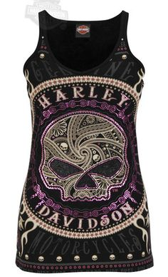 Harley Davidson Ladies Foil Willie G Skull Black V Neck Skinny Strap Tank Top | eBay