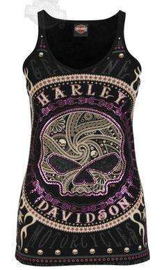 Goth:  #Ride or #Die ~ Harley- Davidson Ladies Foil Willie G Skull Black V Neck Skinny Strap Tank Top.