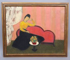 """This is a beautiful Mid Century Modern oil panting dating to the 1950s/60s. The large painting on canvas depicts a woman seated on a sofa with a colorful floral bouquet displayed in front of her. Signed by the artist: """"Belmont"""" on the lower left corner. 