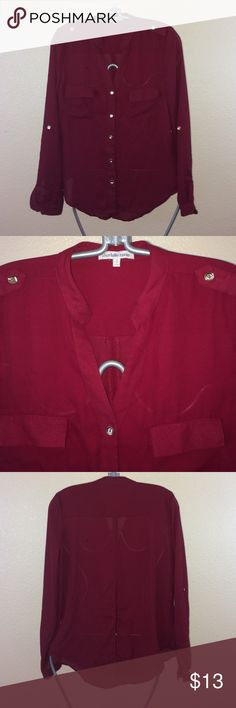 Charlotte Russe burgundy Button down blouse Has slit back. Roll up sleeves. Worn a few times but is in great condition! Charlotte Russe Tops Button Down Shirts