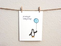 Penguin Belated Birthday Card 100 Recycled by WanderDesign on Etsy, $3.00
