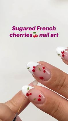 Manicure, Pedicure Nail Art, Funky Nails, Dope Nails, Spring Nails, Summer Nails, Cherry Nail Art, Dope Nail Designs, Almond Nails Designs