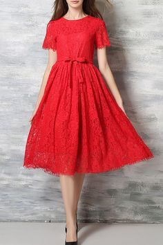 Lace Round Neck Short Sleeve A Line Dress - RED L