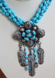 NativeIndianMade.com - Navajo Multi-Strand Turquoise Necklace by Patrick Yazzie